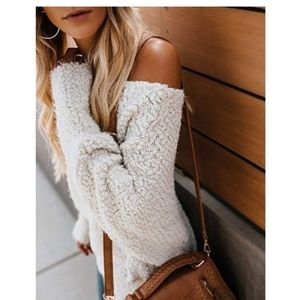 GRETLYN Fluffy Sherpa Off Shoulder Sweater